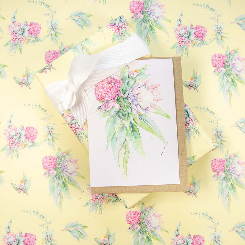 Australian botanical flowers greeting gift cards