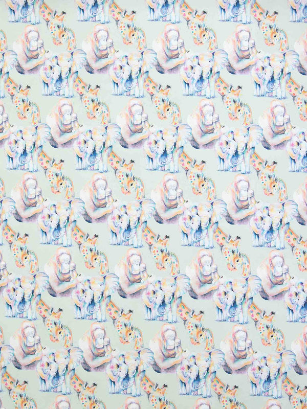 Rainbow watercolour animals wrapping paper sheets