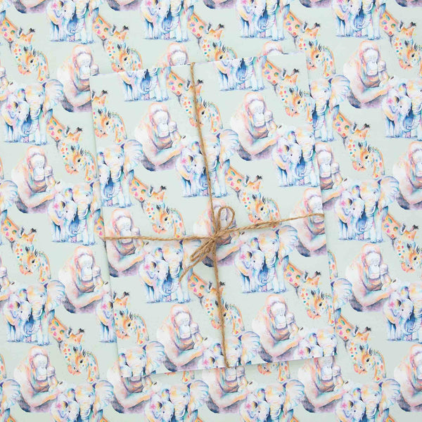 Rainbow watercolour animals wrapping paper sheets gift wrap