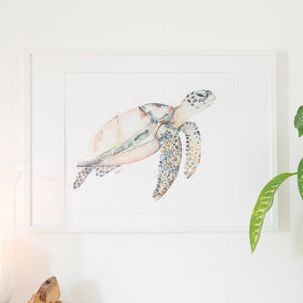 Hawksbill Turtle Print in A2 frame