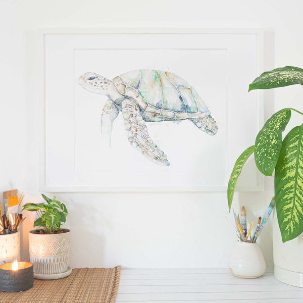 A2 Art Print Frame in Situ with Turtle Print