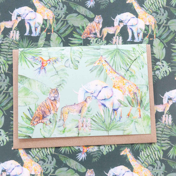 Jungle animals greeting cards and wrapping paper on recycled paper