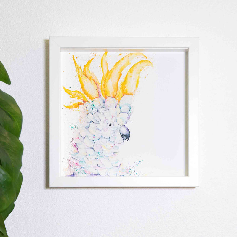 Extra small square white frame with watercolour Cockatoo artwork print