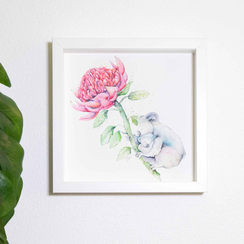 Small square white frame with koala watercolour artwork print