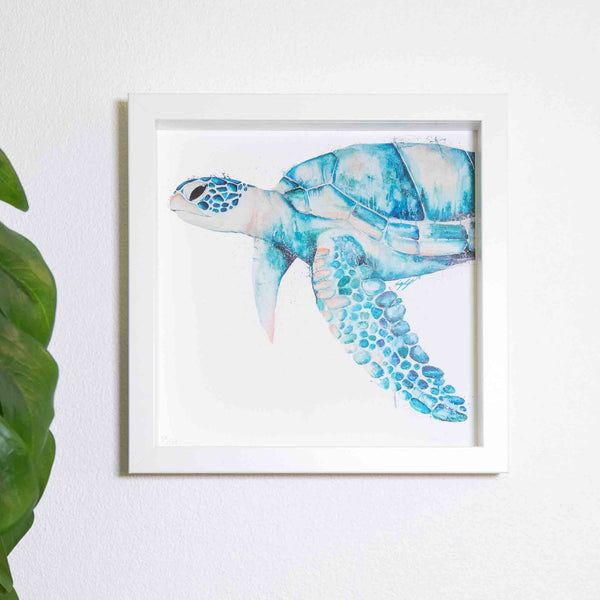 Oil turtle print in small white box frame by SEA