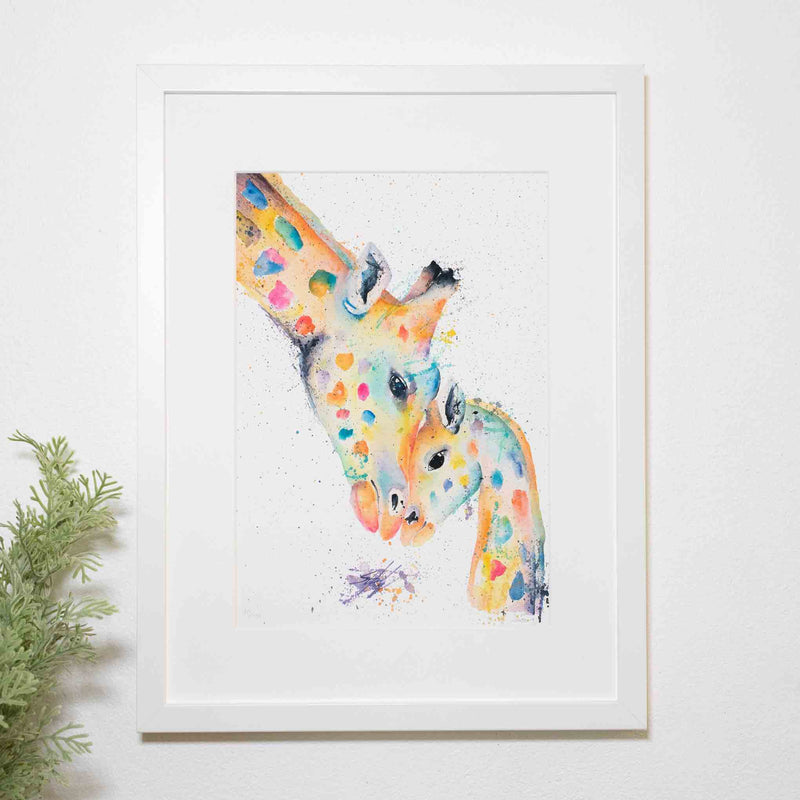 Rainbow giraffe framed white print by SEA