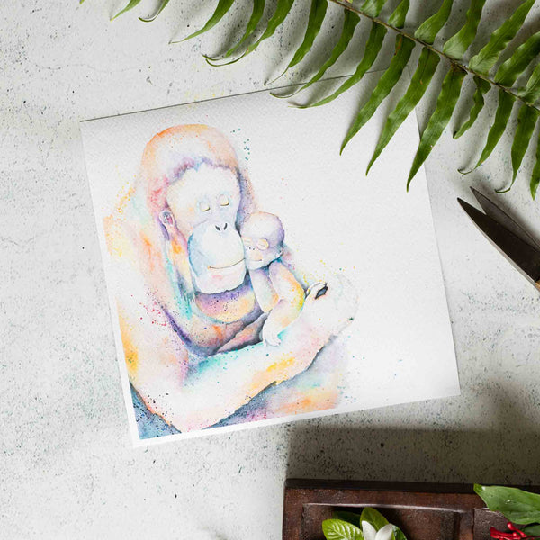 Small Square Orangutang watercolour print by SEA