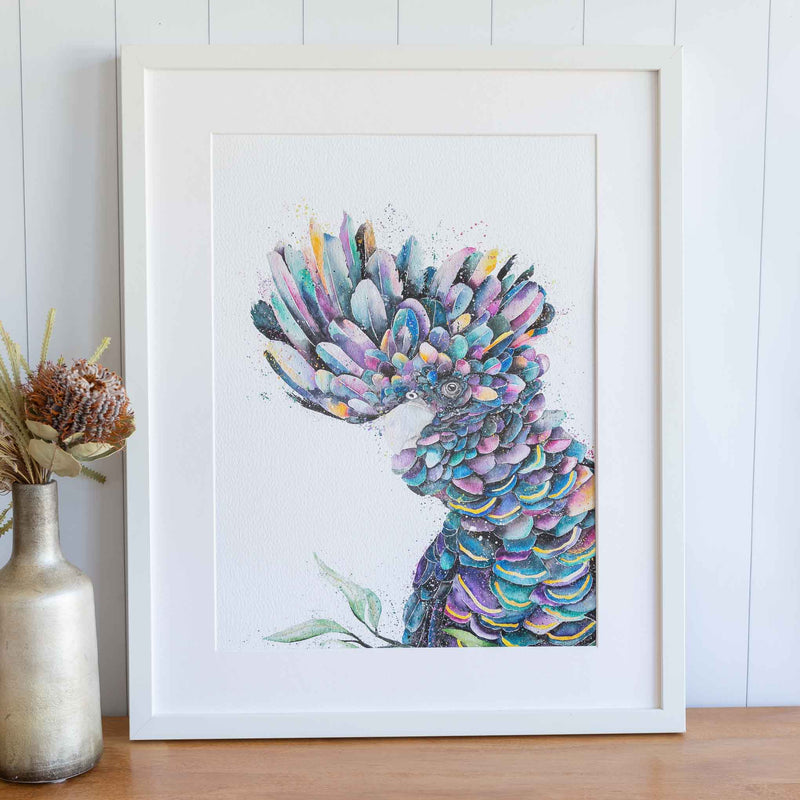 framed black cockatoo print by Stephanie Elizabeth Artwork