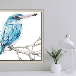 Blue Kingfisher original animal artwork canvas watercolour painting