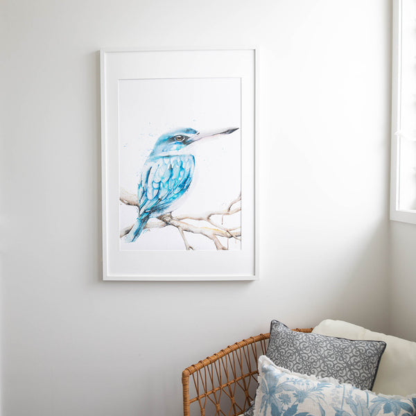Blue Kingfisher fine art watercolour print