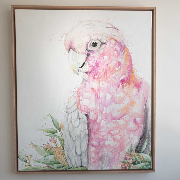 Pink Galah watercolour canvas original artwork