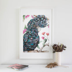 Black Cockatoo Purple Print