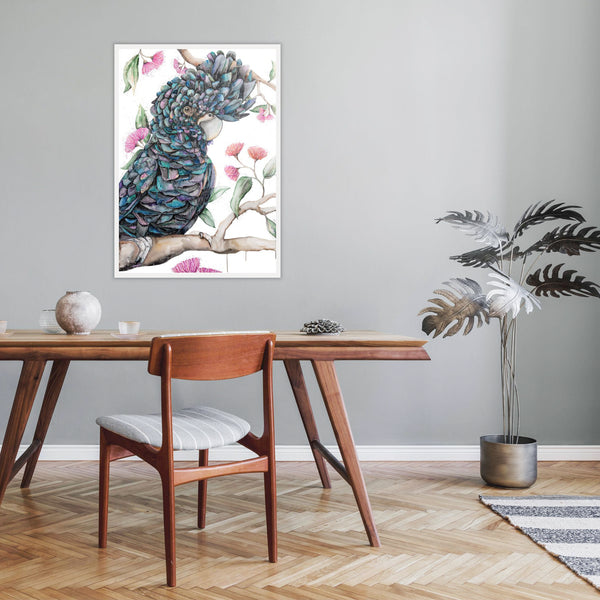 Black Cockatoo giant canvas watercolour original artwork
