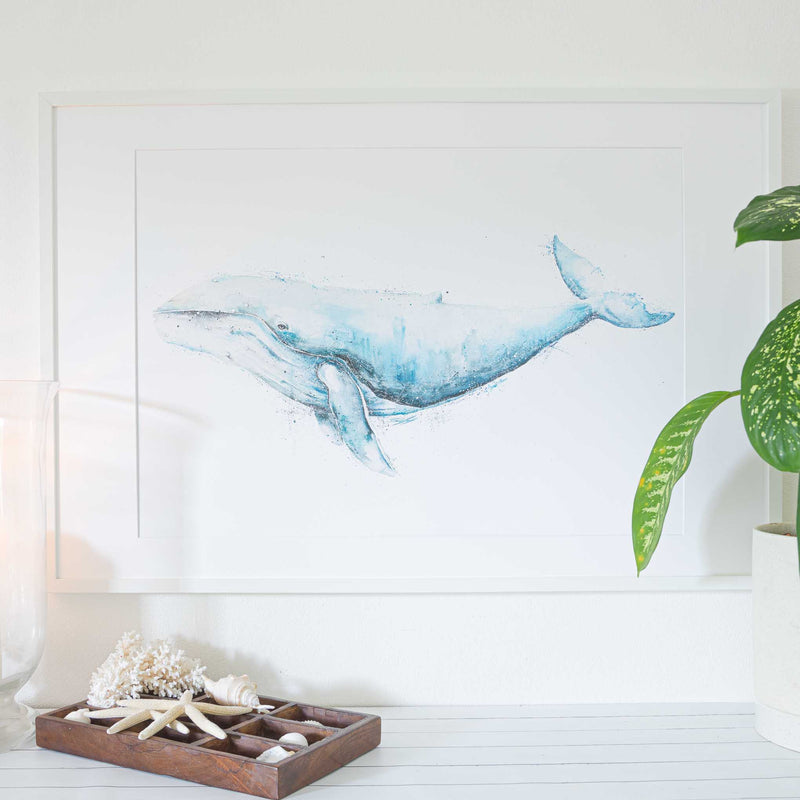 Extra large humpback whale art print