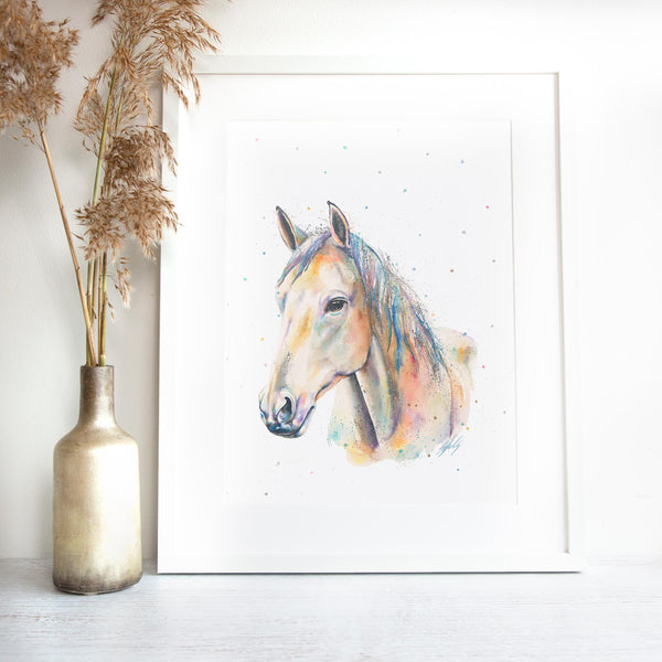 Watercolour horse painting framed by SEA