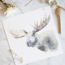Watercolour Animals Artwork Moose by Stephanie Elizabeth Artwork