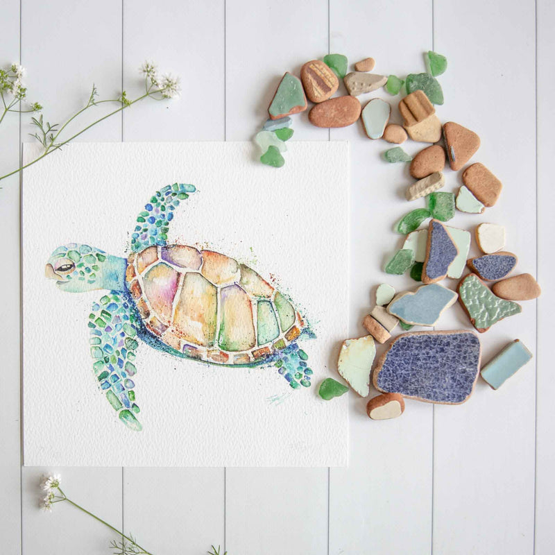 Watercolour animals artwork green turtle limited edition print by Stephanie Elizabeth Artwork.