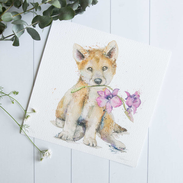 Watercolour animals artwork dingo and orchard flower