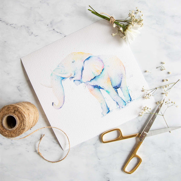 Watercolour animals artwork rainbow elephant print by Stephanie Elizabeth Artwork.