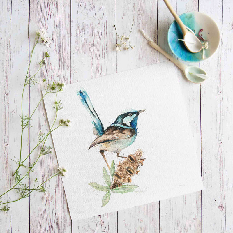 Watercolour animals artwork Banksia and fairy wren