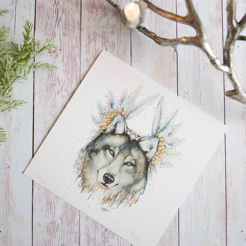 Watercolour animals artwork wolf in headdress