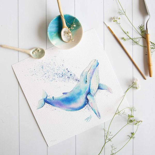 Watercolour animals artwork humpback whale painted in blue colours by Stephanie Elizabeth Artwork.