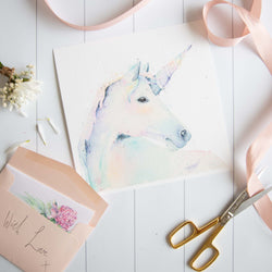 Watercolour animals artwork Rainbow unicorn