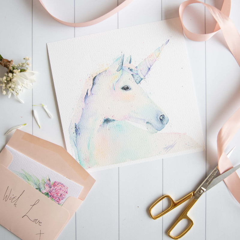 Watercolour animals artwork Rainbow unicorn perfect gift for kids wall art.