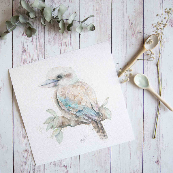 Watercolour animals artwork Kookaburra print