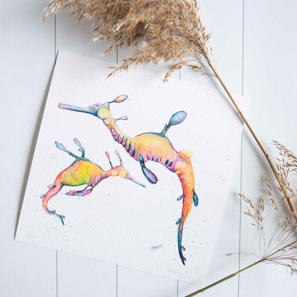 Underwater creatures leafy sea dragons prints