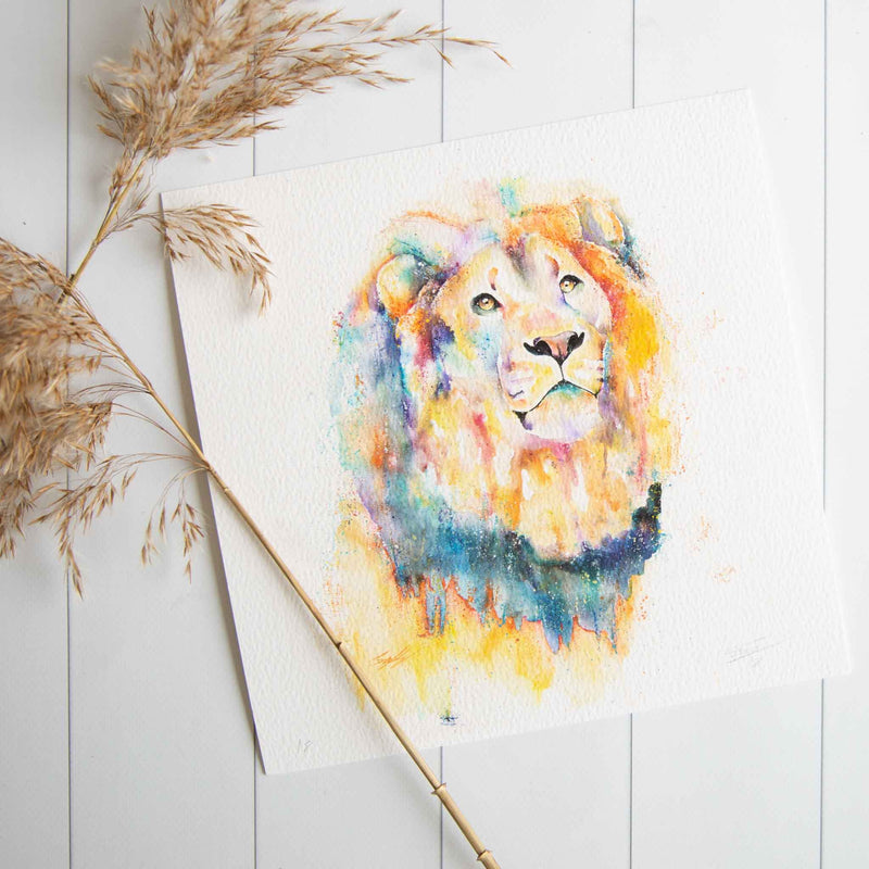 Watercolour animals artwork Little lion man