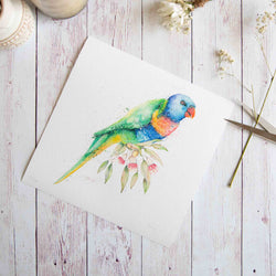 Watercolour animals artwork Lorikeet and Eucalyptus