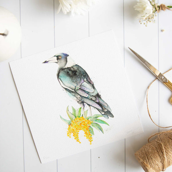 Watercolour animals artwork Magpie print