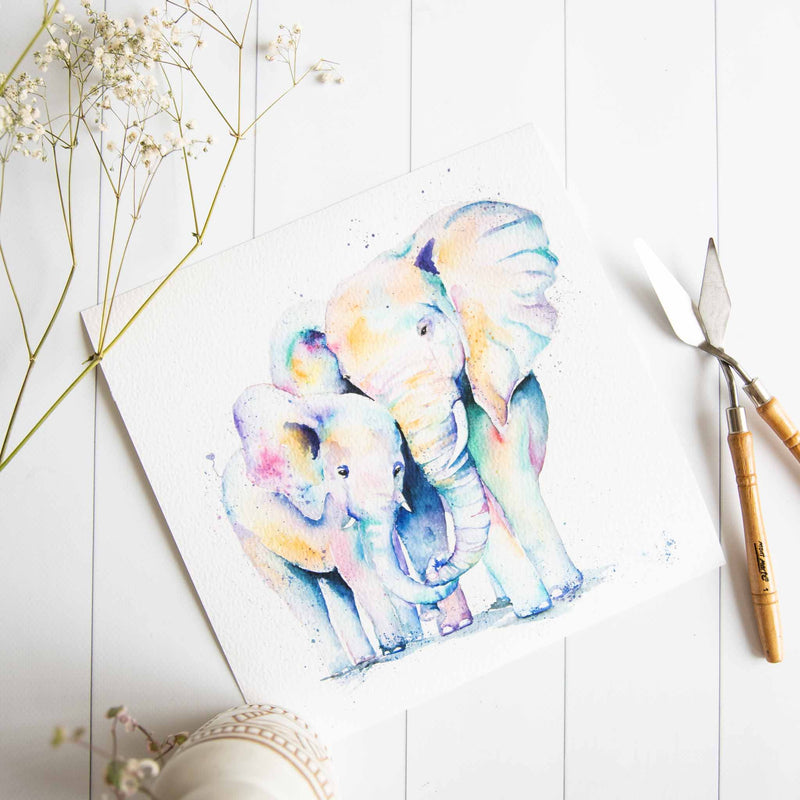 rainbow elephant mum and baby watercolour print