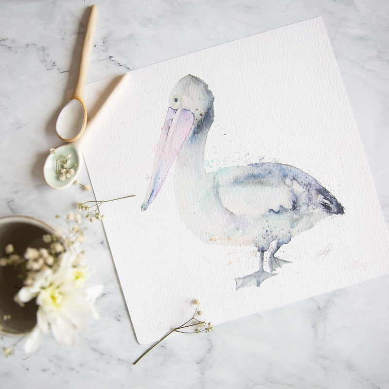 Pelican parade watercolour print by Stephanie Elizabeth Artwork