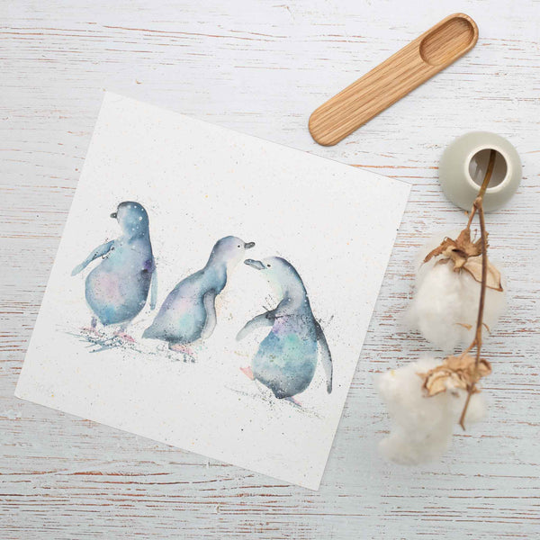 Fairy penguins watercolour print