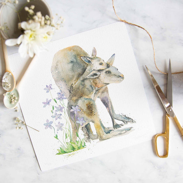 Watercolour animals artwork Kangaroo mum and baby