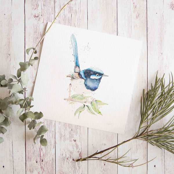 Watercolour animals artwork blue fairy wren on native Australian leaves.