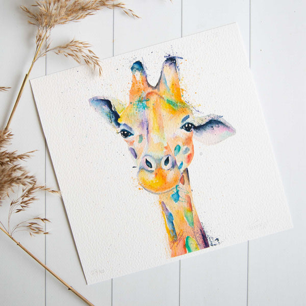 Watercolour animals artwork rainbow giraffe print