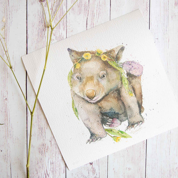 Watercolour animals artwork Australian wombat