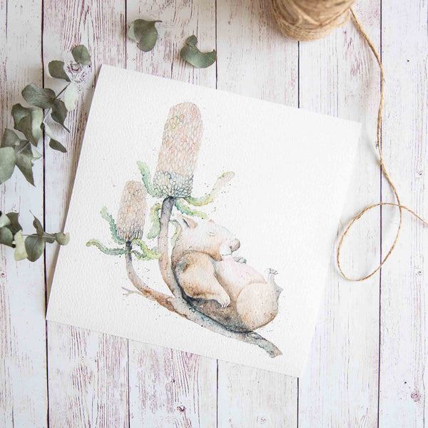Watercolour animals artwork Australian native animal wombat print wall art.