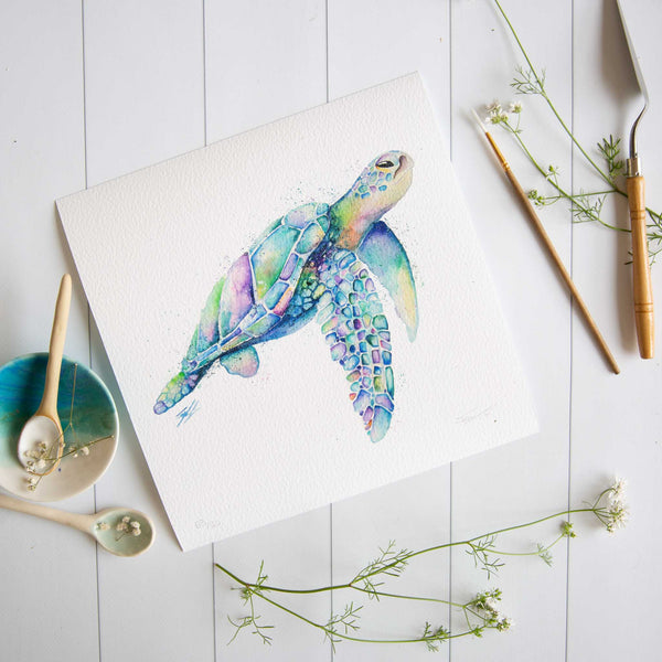 Watercolour animals artwork Tropical treasure turtle painting print by SEA.