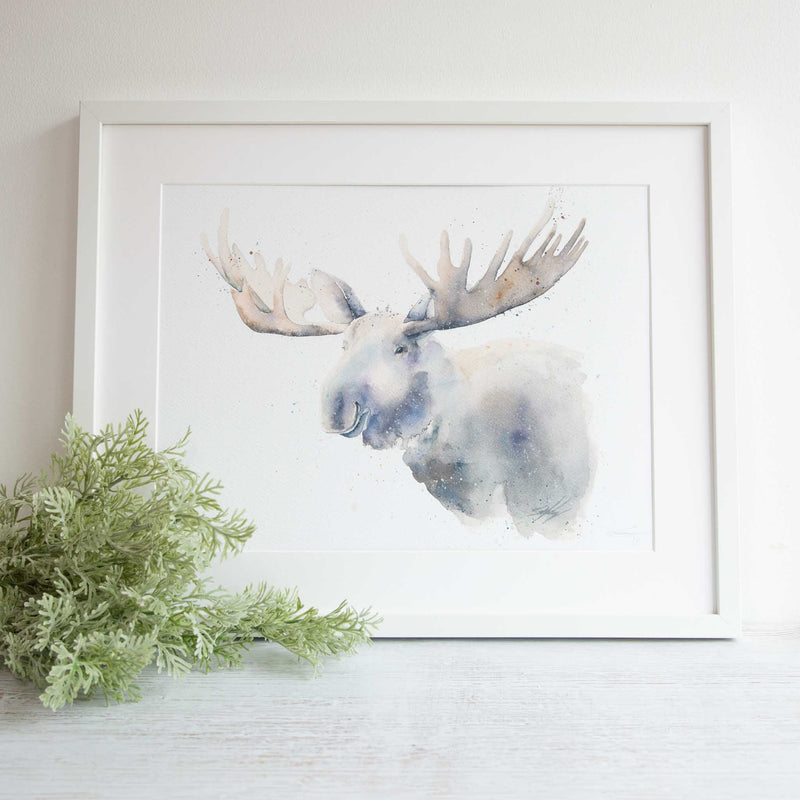 Framed watercolour animal artwork print of Moose