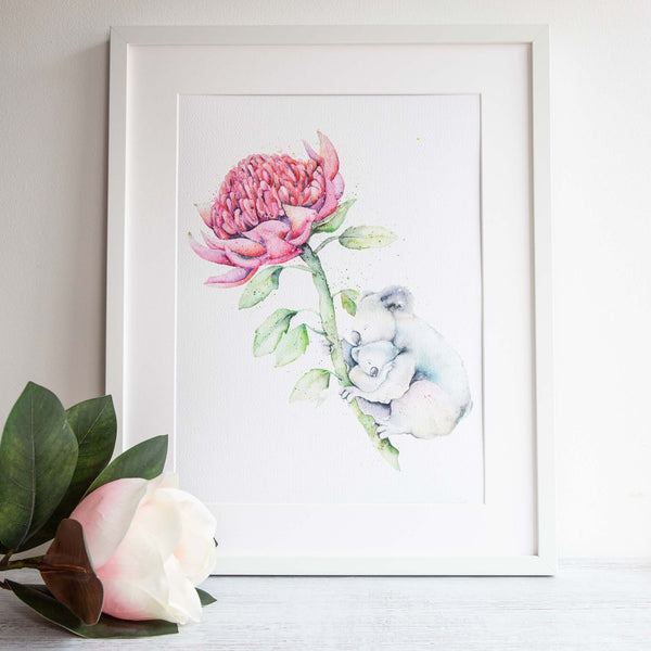 Watercolour animals artwork koalas and banksia limited edition print. Wall art perfect for gifts, presents and special occasions.