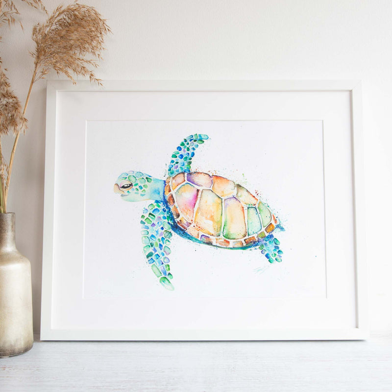 Watercolour animals artwork turtle framed wall art