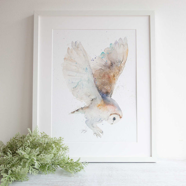 Watercolour animals artwork owl wall art