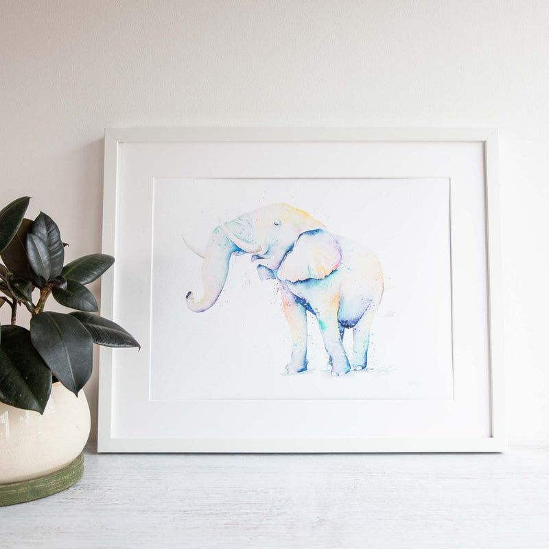 Framed watercolour elephant Print