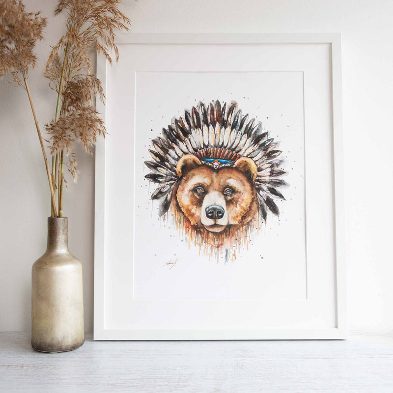 Grizzly Bear wall art framed