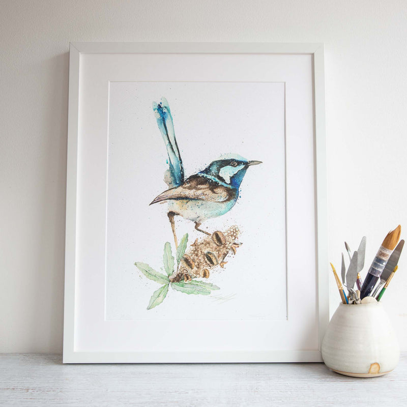 Watercolour animals artwork blue fairy wren Australian native flower