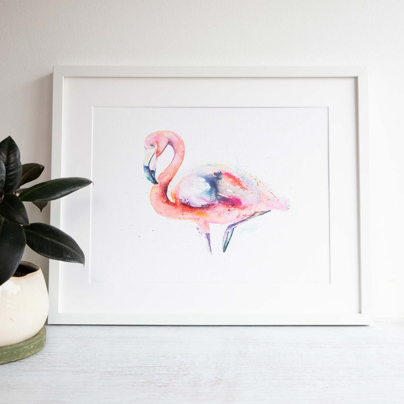 Pink Flamingo watercolour wall art print